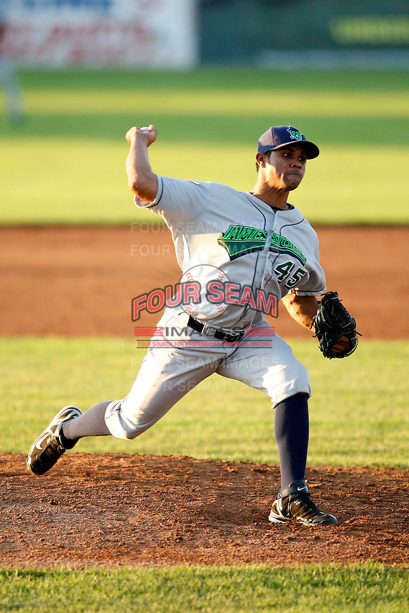 June 26, 2009:  Pitcher Sandy Rosario of the Jamestown Jammers delivers a pitch during a game at Dwyer Stadium in Batavia, NY.  The Jammers are the NY-Penn League Short-Season Class-A affiliate of the Florida Marlins.  Photo by:  Mike Janes/Four Seam Images