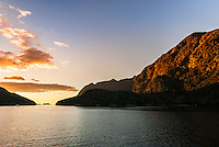 Sunset in Doubtful Sound Taken from overnight cruise boat, Fiordland National Park, South Island, New Zealand - stock photo, canvas, fine art print