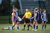 Allston, MA - Sunday July 31, 2016: Toni Pressley, Referee Leszek Stalmach during a regular season National Women's Soccer League (NWSL) match between the Boston Breakers and the Orlando Pride at Jordan Field.