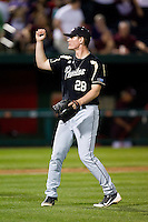 Nick Wittgren (28) of the Purdue Boilermakers celebrates after striking out a batter during a game against the Missouri State Bears at Hammons Field on March 13, 2012 in Springfield, Missouri. (David Welker / Four Seam Images)
