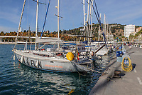 Yacht moored marina, Malaga, Andalucia, Spain, November, 2017, 201711224036<br /><br />Copyright Image from Victor Patterson, 54 Dorchester Park, <br />Belfast, UK, BT9 6RJ<br /><br />t1: +44 28 9066 1296 (from Rep of Ireland 048 9066 1296)<br />t2: +44 28 9002 2446 (from Rep of Ireland 048 9002 2446)<br />m: +44 7802 353836<br /><br />e1: victorpatterson@me.com<br />e2: victorpattersonbelfast@gmail.com<br /><br />www.victorpatterson.com<br /><br />Please see my Terms and Conditions of Use at www.victorpatterson.com. It is IMPORTANT that you familiarise yourself with them.<br /><br />Images used on the Internet must be visibly watermarked i.e. © Victor Patterson within the body of the image and copyright metadata must not be deleted. Images used on the Internet have a size restriction of 4kbs and will be chargeable at current NUJ rates unless agreed otherwise.<br /><br />This image is only available for the use of the download recipient i.e. television station, newspaper, magazine, book publisher, etc, and must not be passed on to any third party. It is also downloaded on condition that each and every usage is notified within 7 days to victorpatterson@me.com<br /><br />The right of Victor Patterson to be identified as the author is asserted in accordance with The Copyright Designs And Patents Act (1988).