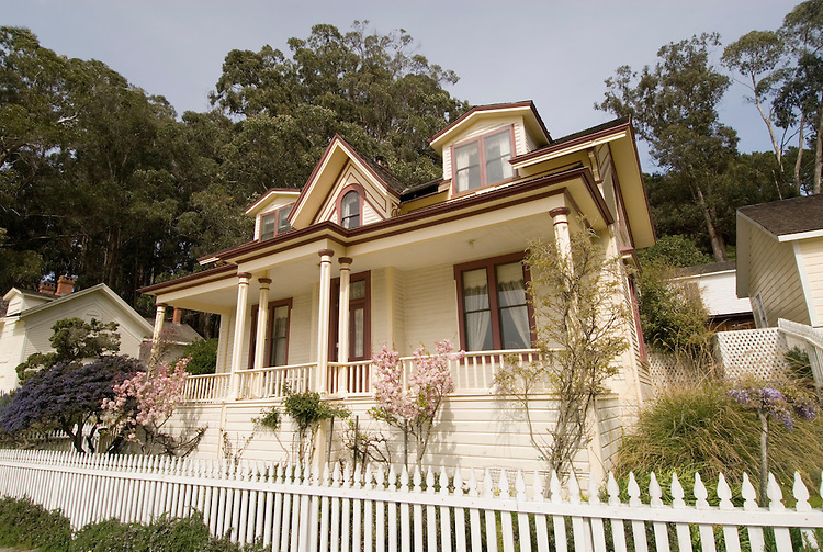 Restored officer's house, Camp Reynolds, Angel Island State Park, in San Francisco Bay, CA, California.  People disembark and picnic at Ayala Cove, then hike, bike, or tram perimeter road, with stops at Civil War era Camp Reynolds, and its restored officer house, or Spanish American War era Fort McDowell..Photo camari249-70580..Photo copyright Lee Foster, www.fostertravel.com, 510-549-2202, lee@fostertravel.com.