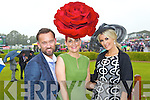 Brendan Courtney, Joann Murphy, Kilgarvan who won best hat award wearing a Carol Kennelly Millinery headpiece and Lisa Fitzpatrick at Killarney races ladies day on Thursday.