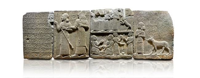 """Hittite monumental relief sculpted orthostat stone panel of Royal Buttress. Basalt, Karkamıs, (Kargamıs), Carchemish (Karkemish), 900-700 B.C. Anatolian Civilisations Museum, Ankara, Turkey.<br /> <br /> Hieroglyph panel1 (left) - Discourse of Yariris. Yariris presents his predecessor, the eldest son Kamanis, to his people. <br /> Second From left panel 2  -  King Araras holds his son Kamanis from the wrist. King carries a sceptre in his hand and a sword at his waist while the prince leans on a stick and carries a sword on his shoulder. <br /> Hieroglyphs reads; """"This is Kamanis and his siblings.) held his hand and despite the fact that he is a child, I located him on the temple. This is Yariris' image"""".  <br /> <br /> Panel 3 - This panels scene showing 8 out of 10 children of the King, the hieroglyphs reads as follows: """"Malitispas, Astitarhunzas, Tamitispas,Isikaritispas, Sikaras, Halpawaris, Ya hilatispas"""". Above, there are three figures holding knucklebones (astragalus) and one figure walking by leaning on a stick; below are two each figures playing the knucklebones and turning whirligigs.<br />  <br /> Panel 4 - The queen carries her youngest son. The hieroglyphs located above read; """"and this is Tuwarsais; the prince desired by the ruler, whose exclusiveness has been exposed"""". While the queen carries her son in her lap, she holds the rope of the colt coming behind with her other hand. The muscles of the colt are schematic. <br /> <br /> Against a white background."""