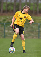 20190403  - Tubize , BELGIUM : Belgian Aster Janssens pictured during the soccer match between the women under 19 teams of Belgium and Switzerland , on the first matchday in group 2 of the UEFA Women Under19 Elite rounds in Tubize , Belgium. Wednesday 3 th April 2019 . PHOTO DIRK VUYLSTEKE / Sportpix.be