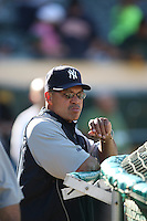 OAKLAND, CA - JUNE 11:  Reggie Jackson of the New York Yankees watches batting practice before the game against the Oakland Athletics at the McAfee Coliseum in Oakland, California on June 11, 2008.  The Athletics defeated the Yankees 8-4.  Photo by Brad Mangin