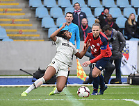 20190113 - LILLE , FRANCE : LOSC's Maud Coutereels (R) making a penalty fault on Marie Antoinette Katoto (L) pictured during women soccer game between the women teams of Lille OSC and Paris Saint Germain  during the 16 th matchday for the Championship D1 Feminines at stade Lille Metropole , Sunday 13th of January 2019,  PHOTO Dirk Vuylsteke | Sportpix.Be