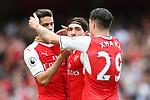 Hector Bellerin of Arsenal celebrates scoring his side's first goal with Gabriel of Arsenal and Granit Xhaka of Arsenal during the English Premier League match at the White Hart Lane Stadium, London. Picture date: May 21st 2017.Pic credit should read: Charlie Forgham-Bailey/Sportimage