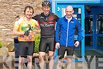 Eoin O'Sullivan (Firies), Darragh Crowley (Tralee) and Jerry Hayes (Beaufort) after completing the Dingle Peninsula Cycle Challange on Saturday.