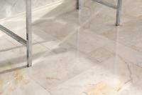 Versailles Grand, a hand-cut stone mosaic, shown in polished Cloud Nine, is part of the Semplice™ collection for New Ravenna.