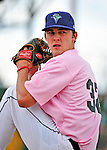 """18 July 2010: Vermont Lake Monsters pitcher Matt Swynenberg warms up prior to a game against the Staten Island Yankees at Centennial Field in Burlington, Vermont. The Lake Monsters, dressed in their Breast Cancer Awareness """"Pinks"""", fell to the Yankees 9-5 in NY Penn League action. Mandatory Credit: Ed Wolfstein Photo"""