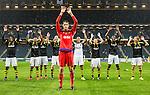 Solna 2015-07-09 Fotboll Kval UEFA Europa League AIK - VPS Vaasa : <br /> AIK:s m&aring;lvakt Oscar Linn&eacute;r jublar med lagkamrater framf&ouml;r AIK:s supportrar efter matchen mellan AIK och VPS Vaasa <br /> (Foto: Kenta J&ouml;nsson) Nyckelord:  AIK Gnaget Friends Arena UEFA Europa League Kval Kvalmatch Solna Stockholm VPS Vaasa Finland jubel gl&auml;dje lycka glad happy  supporter fans publik supporters