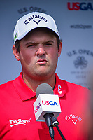 Patrick Reed (USA) is interviewed in a post round presser following Saturday's round 3 of the 117th U.S. Open, at Erin Hills, Erin, Wisconsin. 6/17/2017.<br /> Picture: Golffile | Ken Murray<br /> <br /> <br /> All photo usage must carry mandatory copyright credit (&copy; Golffile | Ken Murray)