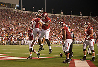 Hawgs Illustrated/BEN GOFF <br /> David Williams, Arkansas running back, runs in for a touchdown against Florida A&M Thursday, Aug. 31, 2017, at War Memorial Stadium in Little Rock.