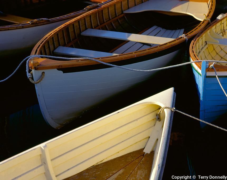 Detail of boat bows & lines at the Center for Wooden Boats on Lake Union  Seattle, WA
