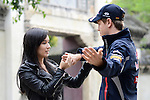 Formula One World Champion Sebastian Vettel appears alongside Hollywood actress and martial artist Celina Jade at a Shanghai film studios, China, for the making of car brand Infiniti's martial arts short film, Kung Fu Vettel: Drive of the Dragon . The film is the first in a series of virals from Infiniti to launch their Inspired Performers campaign on 11th April 2012. Photo by Victor Fraile / The Power of Sport Images for Prism/Infiniti