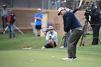 Charley Hoffman (USA) watches his putt on 18 during Round 2 of the Valero Texas Open, AT&T Oaks Course, TPC San Antonio, San Antonio, Texas, USA. 4/20/2018.<br /> Picture: Golffile | Ken Murray<br /> <br /> <br /> All photo usage must carry mandatory copyright credit (© Golffile | Ken Murray)