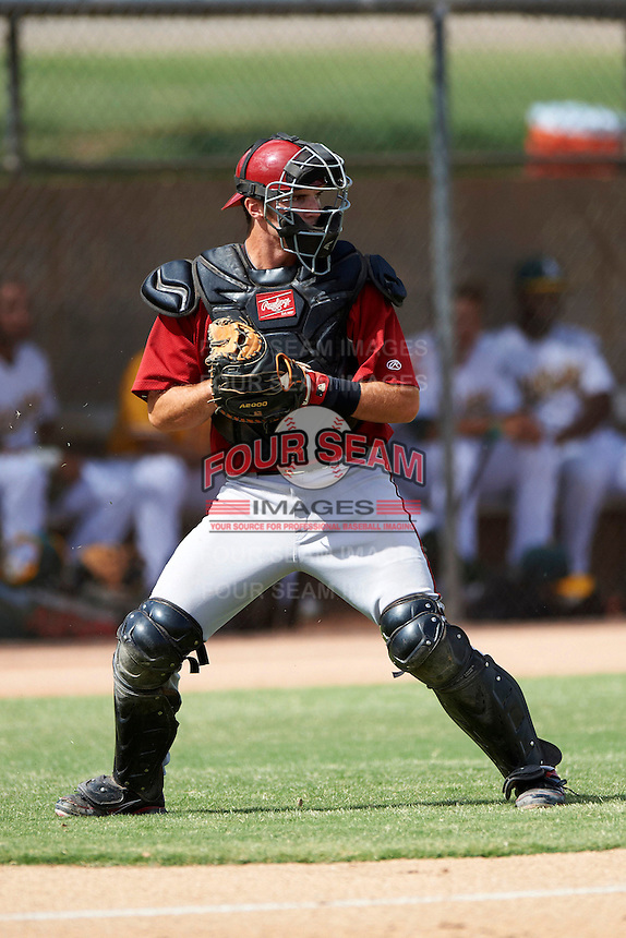 Arizona Diamondbacks minor league catcher Ronnie Freeman #24 during an instructional league game against the Oakland Athletics at the Papago Park Baseball Complex on October 11, 2012 in Phoenix, Arizona.  (Mike Janes/Four Seam Images)