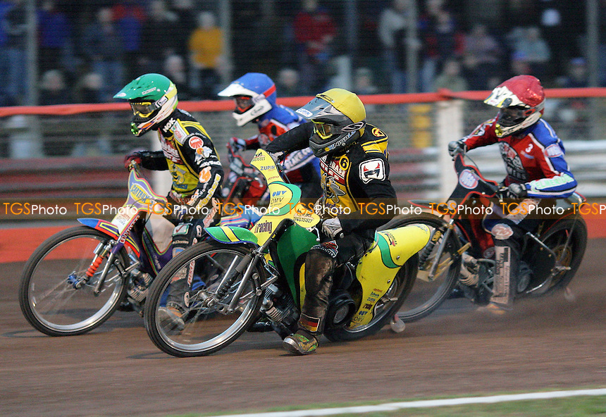 Heat 12 - Schlein (green), Smolinksi, Shields (red), Hurry - Lakeside Hammers vs Coventry Bees - Elite League Speedway at Arena Essex - 06/06/07 - MANDATORY CREDIT: Gavin Ellis/TGSPHOTO - SELF-BILLING APPLIES WHERE APPROPRIATE. NO UNPAID USE -  Tel: 0845 0946026