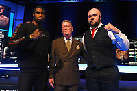 Daniel Dubois (L), Frank Warren and Nathan Gorman during a Press Conference at the BT Studio on 9th May 2019