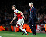 Arsenal's Laurent Koscielny and Arsene Wenger during the Europa League Semi Final 1st Leg, match at the Emirates Stadium, London. Picture date: 26th April 2018. Picture credit should read: David Klein/Sportimage