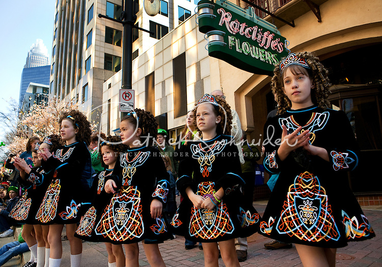 Dancers (children dancers) wait to perform during Charlotte's 13th annual St. Patrick's Day Parade 2009. Thousands of people turned out to watch the annual St. Patrick's Day Parade in Uptown/Downtown Charlotte, North Carolina.