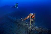Scuba diver near crows nest and flowing tar on ship wreck Mairi Bahn, aka Windjammer, Bonaire, Netherlands Antilles, Caribbean, Atlantic, model release