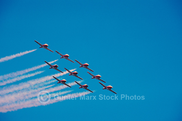 Canadian Forces Snowbirds flying in Formation in Sky, Abbotsford International Airshow, BC, British Columbia, Canada