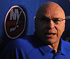 Barry Trotz, head coach of the New York Islanders, speaks with reporters during the organization's Media Day at Northwell Health Ice Center in East Meadow on Thursday, Sept. 13, 2018.
