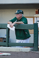 Charlotte 49ers head coach Loren Hibbs (49) watches the action from the dugout during the game against the North Carolina State Wolfpack at BB&T Ballpark on March 31, 2015 in Charlotte, North Carolina.  The Wolfpack defeated the 49ers 10-6.  (Brian Westerholt/Four Seam Images)