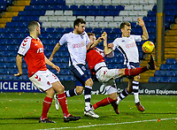 Fleetwood Town's Cian Bolger gets to a cross, but can't keep his shot down<br /> <br /> Photographer Alex Dodd/CameraSport<br /> <br /> The EFL Checkatrade Trophy Group B - Bury v Fleetwood Town - Tuesday 13th November 2018 - Gigg Lane - Bury<br />  <br /> World Copyright &copy; 2018 CameraSport. All rights reserved. 43 Linden Ave. Countesthorpe. Leicester. England. LE8 5PG - Tel: +44 (0) 116 277 4147 - admin@camerasport.com - www.camerasport.com