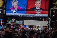 NY, NEW YORK NOVEMBER 09: Screens in Times Square shows the last results of the presidential election in New York on November 8,2016.Photo by VIEWpress/Maite H. Mateo.