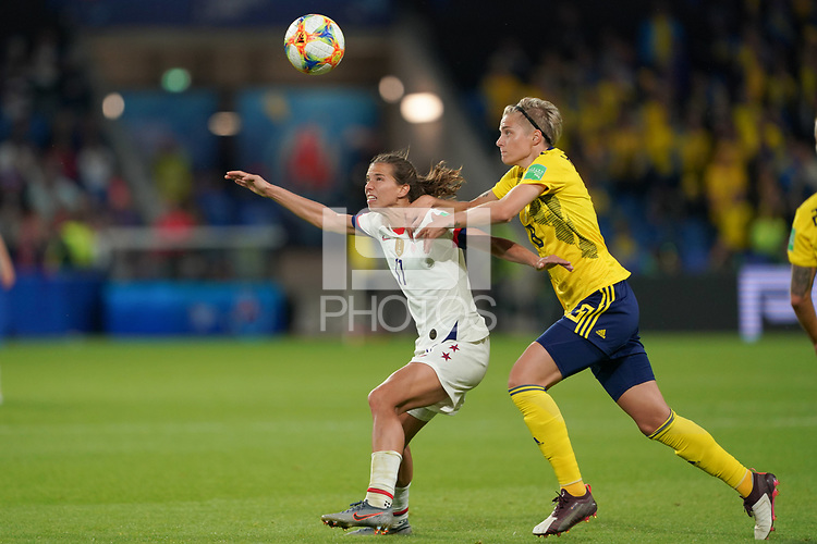 LE HAVRE, FRANCE - JUNE 20: Tobin Heath #17, Lina Hurtig #8 during a 2019 FIFA Women's World Cup France group F match between the United States and Sweden at Stade Océane on June 20, 2019 in Le Havre, France.