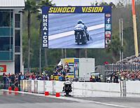 Mar 16, 2019; Gainesville, FL, USA; NHRA pro stock motorcycle rider Jianna Salinas during the Gatornationals at Gainesville Raceway. Mandatory Credit: Mark J. Rebilas-USA TODAY Sports