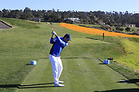 Jordan Spieth (USA) at the 8th tee during Sunday's Final Round of the 2018 AT&amp;T Pebble Beach Pro-Am, held on Pebble Beach Golf Course, Monterey,  California, USA. 11th February 2018.<br /> Picture: Eoin Clarke | Golffile<br /> <br /> <br /> All photos usage must carry mandatory copyright credit (&copy; Golffile | Eoin Clarke)