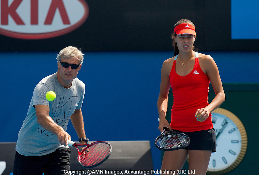 ANA IVANOVIC (SRB) practicing at Melbourne Park with her coach NIGEL SEARS ..15/01/2012, 15th January 2012, 13.01.2012..The Australian Open, Melbourne Park, Melbourne,Victoria, Australia.@AMN IMAGES, Frey, Advantage Media Network, 30, Cleveland Street, London, W1T 4JD .Tel - +44 208 947 0100..email - mfrey@advantagemedianet.com..www.amnimages.photoshelter.com.