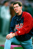 Orel Hershiser of the Cleveland Indians during a game at Anaheim Stadium in Anaheim, California during the 1997 season.(Larry Goren/Four Seam Images)