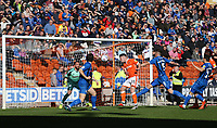 Blackpool's Jordan Thompson scores the opening goal <br /> <br /> Photographer Stephen White/CameraSport<br /> <br /> The EFL Sky Bet League One - Blackpool v Rochdale - Saturday 6th October 2018 - Bloomfield Road - Blackpool<br /> <br /> World Copyright © 2018 CameraSport. All rights reserved. 43 Linden Ave. Countesthorpe. Leicester. England. LE8 5PG - Tel: +44 (0) 116 277 4147 - admin@camerasport.com - www.camerasport.com