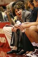 SAN ANTONIO, TX - APRIL 4:  Tara VanDerveer of the Stanford Cardinal during Stanford's 73-66 win over Oklahoma in the Final Four semi-finals at the Alamo Dome on April 4, 2010 in San Antonio, Texas.