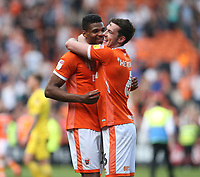 Blackpool's Ben Heneghan and Michael Nottingham celebrate their teams 2-1 victory at the final whistle<br /> <br /> Photographer Stephen White/CameraSport<br /> <br /> The EFL Sky Bet League One - Blackpool v Fleetwood Town - Monday 22nd April 2019 - Bloomfield Road - Blackpool<br /> <br /> World Copyright © 2019 CameraSport. All rights reserved. 43 Linden Ave. Countesthorpe. Leicester. England. LE8 5PG - Tel: +44 (0) 116 277 4147 - admin@camerasport.com - www.camerasport.com<br /> <br /> Photographer Stephen White/CameraSport<br /> <br /> The EFL Sky Bet Championship - Preston North End v Ipswich Town - Friday 19th April 2019 - Deepdale Stadium - Preston<br /> <br /> World Copyright © 2019 CameraSport. All rights reserved. 43 Linden Ave. Countesthorpe. Leicester. England. LE8 5PG - Tel: +44 (0) 116 277 4147 - admin@camerasport.com - www.camerasport.com
