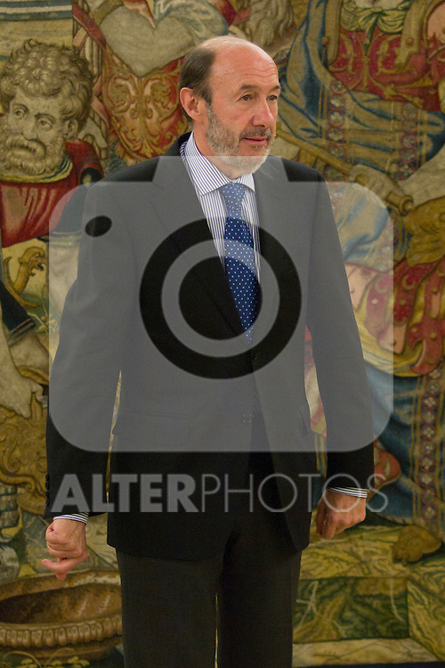 16.07.2012. King Juan Carlos I of Spain attend  a audience with Alfredo Perez Rubalcaba, Secretary General of the PSOE, in the Palacio de la Zarzuela in Madrid. In the image Alfredo Perez Rubalcaba (Alterphotos/Marta Gonzalez)