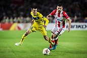 14th September 2017, Red Star Stadium, Belgrade, Serbia; UEFA Europa League Group stage, Red Star Belgrade versus BATE; Midfielder Mirko Ivanic of FC BATE Borisov in action against Midfielder Ricardinho of Red Star Belgrade
