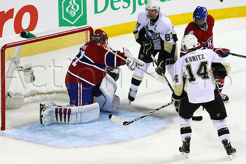04 MAY 2010: Montreal Canadiens' goalie Jaroslav Halak makes a save against Pittsburgh Penguins during the second period of the Eastern Conference Semi Final's Game 3 at the Bell Centre in Montreal, Quebec, Canada. Pittsburgh Penguins won 2-0 over Montreal Canadiens, Stanley Cup Playoffs.