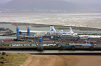Pictured: Astoria cruise ship having a refit at Swansea Dry Docks port to become Saga Pearl cruiser general view of Swansea as seen from the Penthouse restaurant<br />