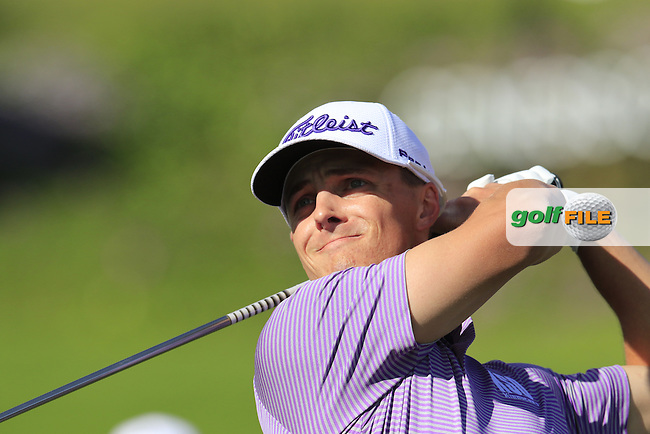 Blayne Barber (USA) tees off the 3rd tee during Thursday's Round 1 of the 2017 Genesis Open held at The Riviera Country Club, Los Angeles, California, USA. 16th February 2017.<br /> Picture: Eoin Clarke | Golffile<br /> <br /> <br /> All photos usage must carry mandatory copyright credit (&copy; Golffile | Eoin Clarke)