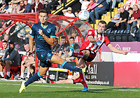 Lincoln City's Harry Toffolo has his attempted cross charged down by Bristol Rovers' Josh Hare<br /> <br /> Photographer Rich Linley/CameraSport<br /> <br /> The EFL Sky Bet League One - Lincoln City v Bristol Rovers - Saturday September 14th 2019 - Sincil Bank - Lincoln<br /> <br /> World Copyright © 2019 CameraSport. All rights reserved. 43 Linden Ave. Countesthorpe. Leicester. England. LE8 5PG - Tel: +44 (0) 116 277 4147 - admin@camerasport.com - www.camerasport.com