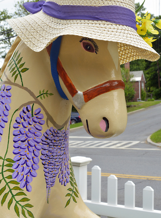 """A view of """"Ms. Wisteria"""" created by artist, William B. Kimble, one of the """"Rockin' Around Saugerties"""" theme Statues on display throughout the Village of Saugerties, NY, on Sunday, June 4, 2017. Photo by Jim Peppler. Copyright/Jim Peppler-2017."""