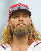 Washington Nationals left fielder Jayson Werth (28) as he returns to the dugout for the bottom of the ninth inning against the Chicago Cubs at Nationals Park in Washington, D.C. on Wednesday, June 15, 2016.  The Nationals won the game 5 - 4 in 12 innings.<br /> Credit: Ron Sachs / CNP