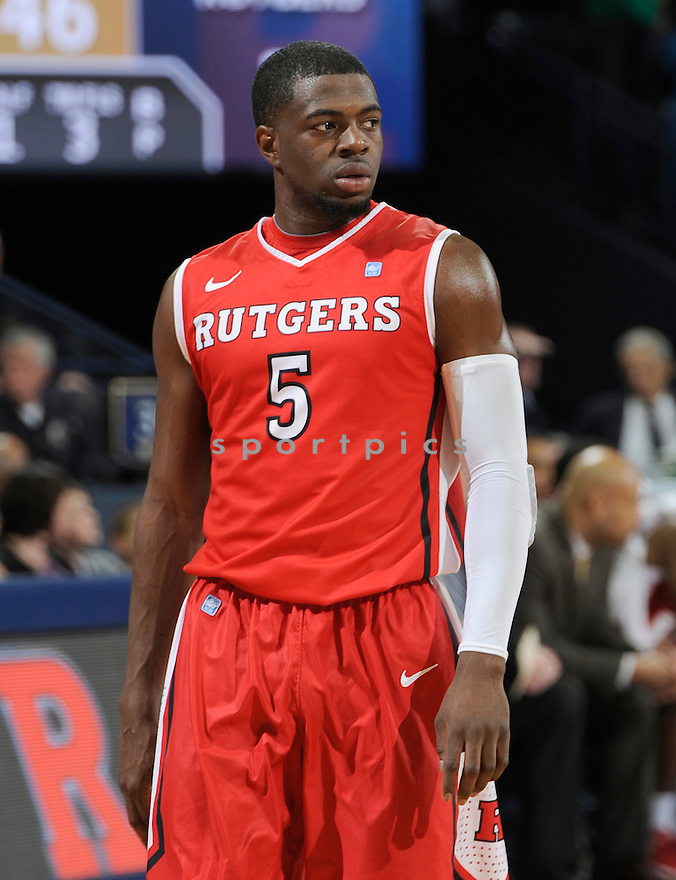 Rutgers Scarlet Knights Eli Carter (5) during a game against Notre Dame on January 19, 2013 at the Purcell Pavilion in South Bend, IN. Notre Dame beat Rutgers 69-66.