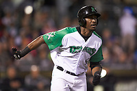 Montrell Marshall (26) of the Dayton Dragons hustles down the first base line against the Bowling Green Hot Rods at Fifth Third Field on June 8, 2018 in Dayton, Ohio. The Hot Rods defeated the Dragons 11-4.  (Brian Westerholt/Four Seam Images)